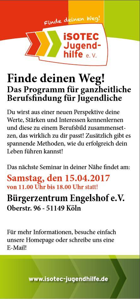 """Seminar 15.04.2017 """"Finde deinen Weg! Das Programm für ganzheitliche Berufsfindung für Jugendliche."""""""